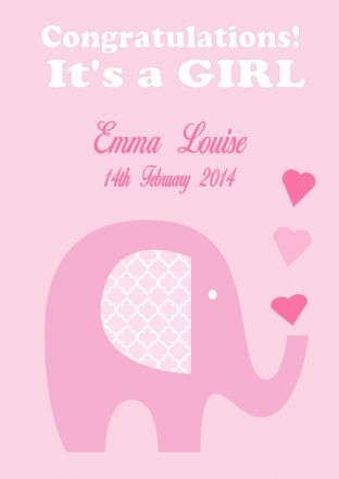 Personalised New Baby Girl Card Design 5